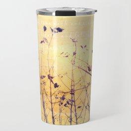 Yellow Minimalist Bird and Branches Travel Mug