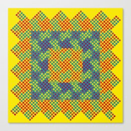 Dot Swatch Equivocated on Yellow Canvas Print