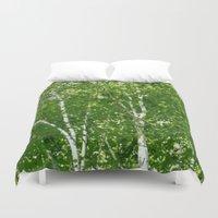 birch Duvet Covers featuring Birch Trees by Nadia Bonello - Trū Artwear