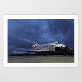 1457. Space Shuttle Discovery onto the back of the Shuttle Carrier Aircraft in the Background Art Print