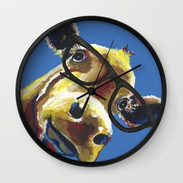 Cute Cow With Glasses, Up close Glasses Cow Wall Clock