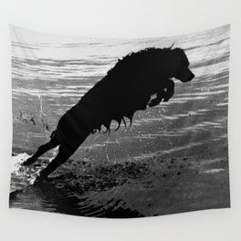 Dog Jump Wall Tapestry