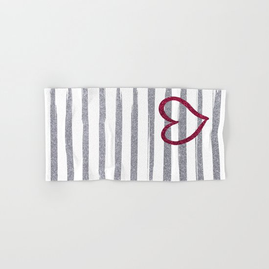 Red Heart on Shiny Silver Stripes Hand & Bath Towel