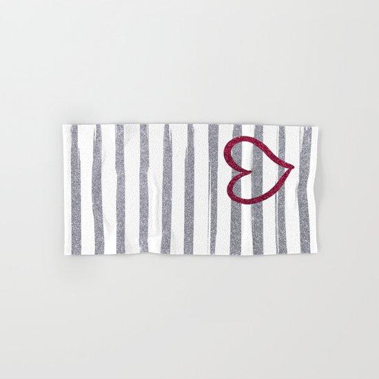 Red Heart on Shiny Silver Stripes Hand & Bath Towel