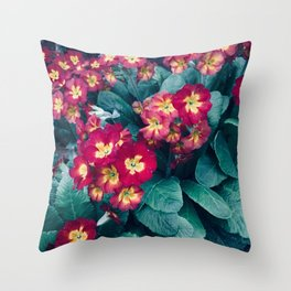 Pretty Little Red & Yellow Flowers Throw Pillow