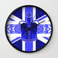 british flag Wall Clocks featuring Royal Blue - British Flag & Crown by Ornaart