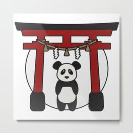 Cute Panda Visits Japan - Torii  Metal Print