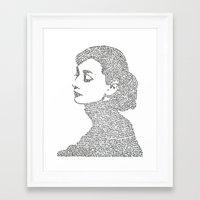 hepburn Framed Art Prints featuring Audrey Hepburn by S. L. Fina