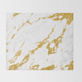 Elegant Marble style 6 - Gold and White Throw Blanket