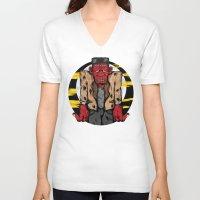 frankenstein V-neck T-shirts featuring Frankenstein by Pancho the Macho