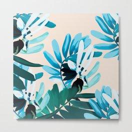 Big leaves blue Metal Print