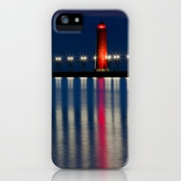 Grand Haven Pier Lighthouse and Reflections iPhone Case