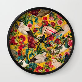 FLORAL AND BIRDS XVIII Wall Clock