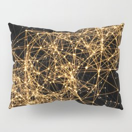 Shiny golden dots connected lines on black Pillow Sham