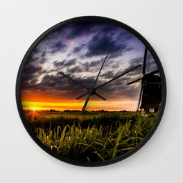 windmill on a dike in the Netherlands | nature photography | landscap Wall Clock