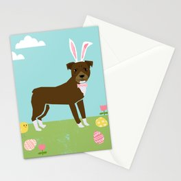 Pitbull dog breed easter spring pet portrait pibble rescue dog lovers Stationery Cards