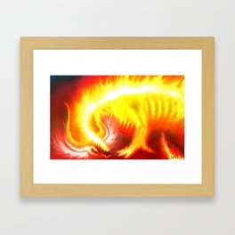 flame skeleton monster Framed Art Print