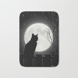 Silent Night Cat and full moon Bath Mat