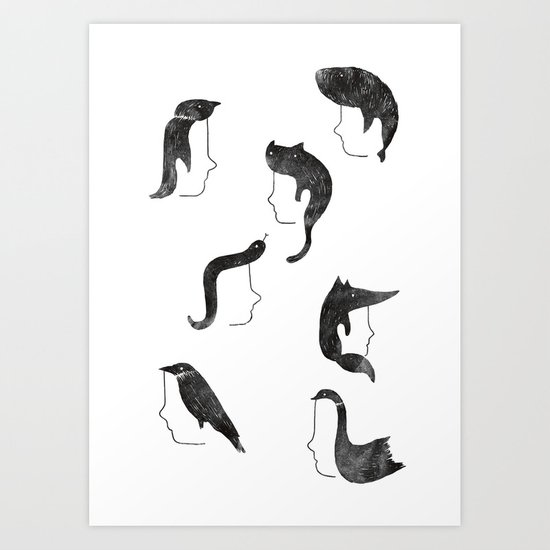 Hairnimals Art Print