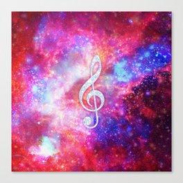 Galaxy Nebula Glitter Music Note Pink Space Canvas Print