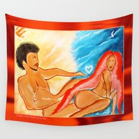 returns Wall Tapestries featuring DAT RETURNS TO NIGHT by KEVIN CURTIS BARR'S ART OF FAMOUS FACES