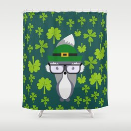 St. Patrick's Day decor with cute little fox Shower Curtain
