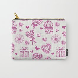 Valentine day pattern with hearts and giftboxes. Carry-All Pouch