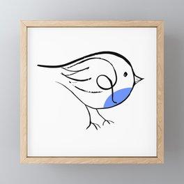 Blue Bird Line Drawing Framed Mini Art Print