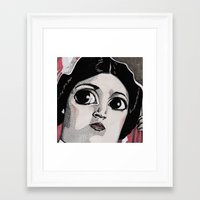 princess leia Framed Art Prints featuring Leia by Drawn by Nina