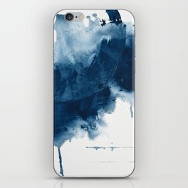 Where does the dance begin? A minimal abstract acrylic painting in blue and white by Alyssa Hamilton iPhone Skin