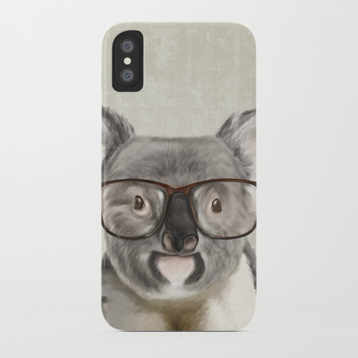 A Baby Koala With Glasses On Rustic Background IPhone Case