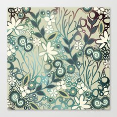 Detailed square of green and ocre floral tangle Canvas Print