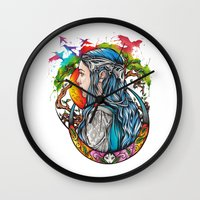 celtic Wall Clocks featuring Celtic elf by Raquel C. Hita - Sednae