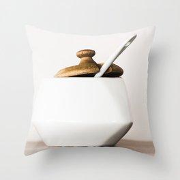 White ceramic sugar cup Throw Pillow