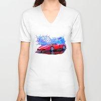 ferrari V-neck T-shirts featuring Ferrari Enzo by JT Digital Art