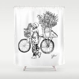 Bicycle Flower Seller in Hanoi in Pencil Shower Curtain