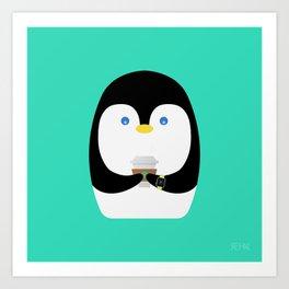 Penguin + Coffee Art Print