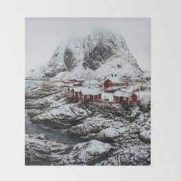 Mountain Village In Norway Throw Blanket