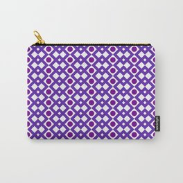 Geometric Design - Purple White and Magenta  - Diamonds Circles Squares Carry-All Pouch