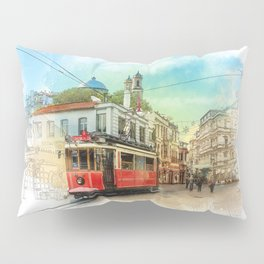 Old tram in Istanbul Pillow Sham