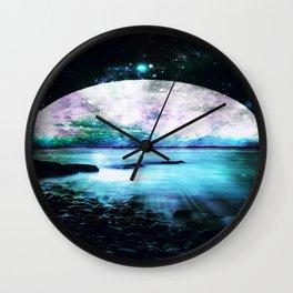 Mystic Lake Teal Violet Wall Clock