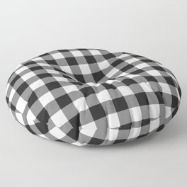 Black and White Country Buffalo check with digital canvas texture Floor Pillow