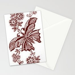 Lace Butterflies Mahogany Stationery Cards