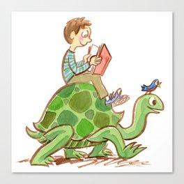 The Tortoise-Riding Reader Canvas Print