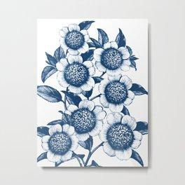 Blue Flowers Elegant Pattern Metal Print