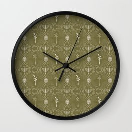 Intricate Plant Damask Arabesque Hand Drawn Wall Clock