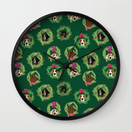 Coonhound Wreaths in Green Wall Clock