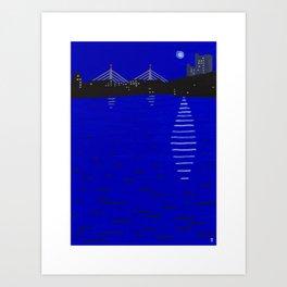 Zakim Bridge at Night - Boston Landmarks Art Print