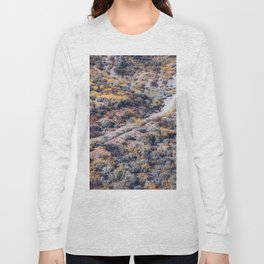 blooming yellow poppy flower field over the mountain in California, USA Long Sleeve T-shirt