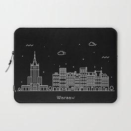Warsaw Minimal Nightscape / Skyline Drawing Laptop Sleeve